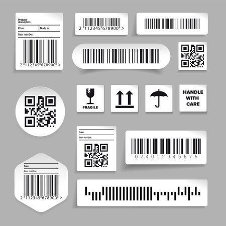 Barcode label set sticker vector on grey Ilustração