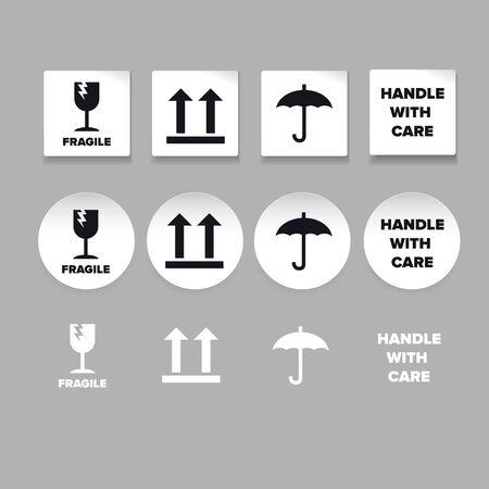 Cargo symbols icon set label vector