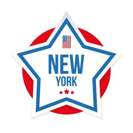 New York USA flag stripes and star vector Ilustração