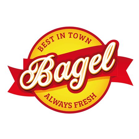 Vitage Bagel sign label lettering