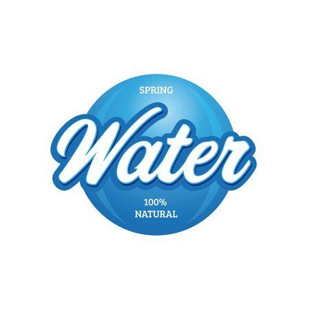 Water sign vintage lettering blue Ilustração