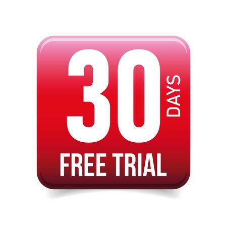 Thirty days free trial button red Ilustração