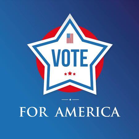 Vote for America star flag poster vector Ilustração