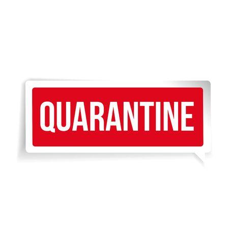 Quarantine sign label lettering vector