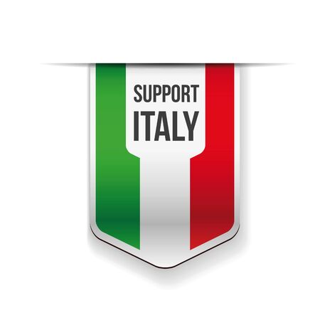 Support Italy flag ribbon sign vector Ilustração