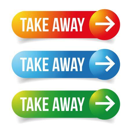 Take Away sign button arrow vector Ilustração