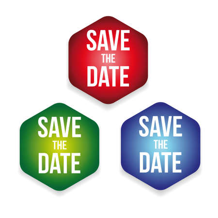 Save the Date label set vector
