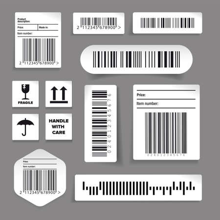 Barcode label vector set stickers