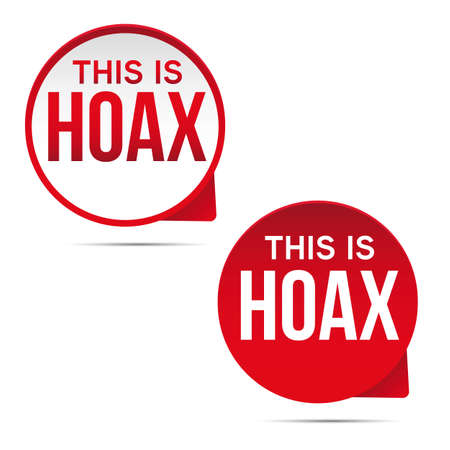 Hoax label red sign vector Ilustrace
