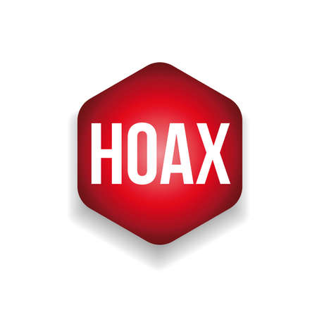 Hoax label red sign vector Vettoriali