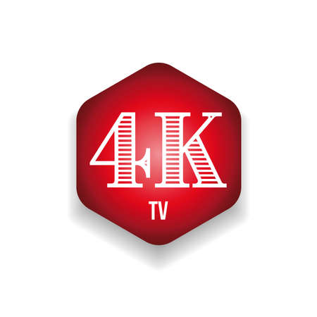 4K television resolution sign red hexagon