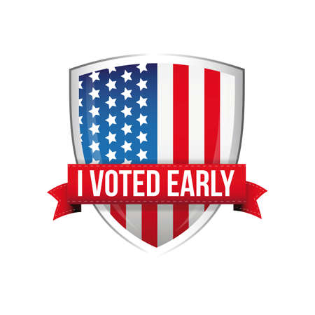 I voted early United States flag button