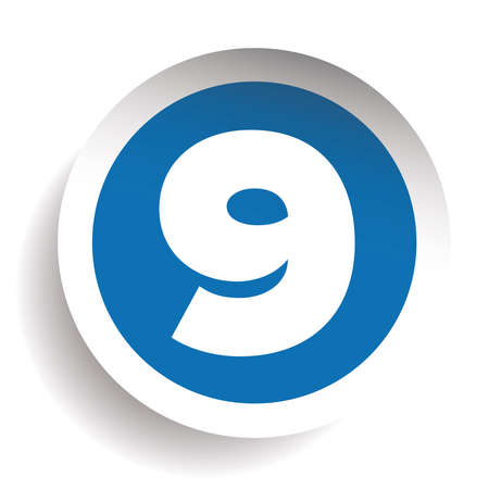 Number Nine sticker vector blue
