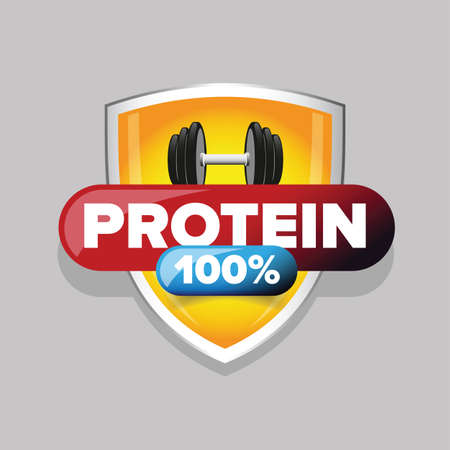 Whey Protein sign on shield Ilustrace