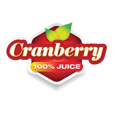 Cranberry juice sign label tag