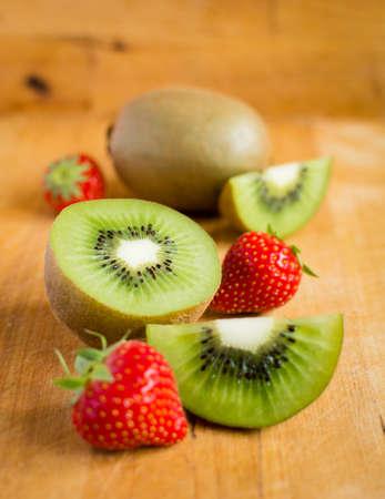Kiwi fruit and strawberries Reklamní fotografie