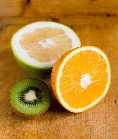 Orange fruit, kiwi and grapefruit