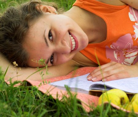 Young female student is preparing for exam. Primary focus on her face. Stock Photo - 2005184
