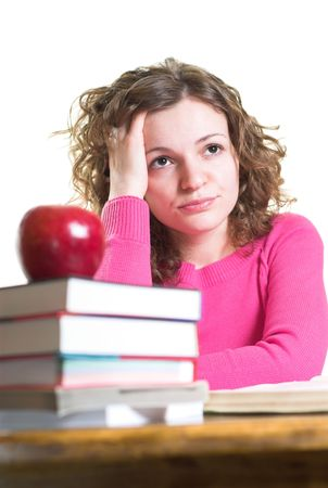 Young student is disappointed and exhausted. Isolated. Stock Photo