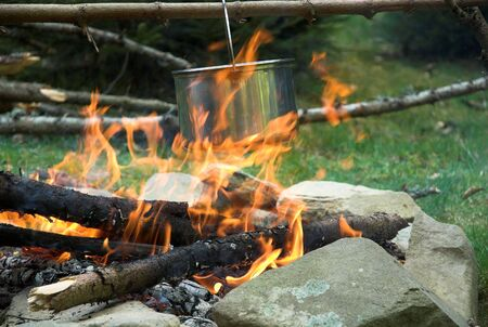 Cooking meal on fire. Spring, in the forest Stock Photo - 2706952