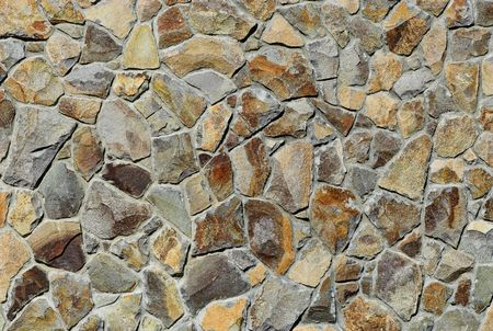 showy: Showy wall with stones of different shapes and sizes.