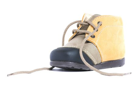 untied: Untied baby boot isolated on white background