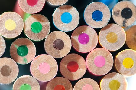 disordered: Colorful background pattern from disordered circle pencils