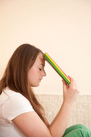 Young female student is in difficult situation Stock Photo
