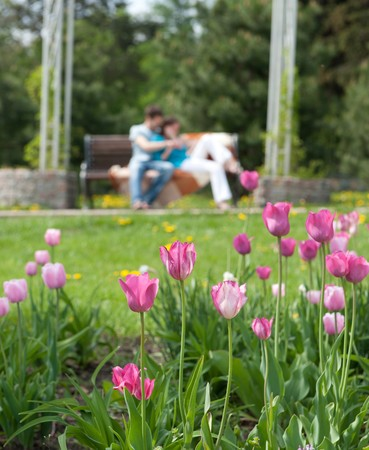 Happy couple is sitting on bench. Primary focus on flowers. photo
