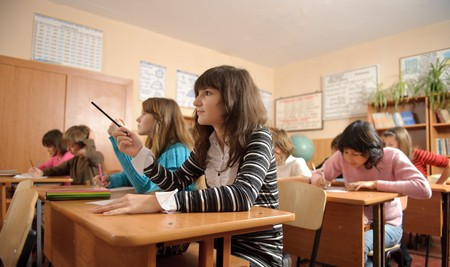 diligent: Diligent schoolchildren during lesson. Cute girl on foreground