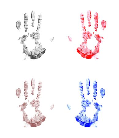 Four isolated painted handprints. Left and right. photo