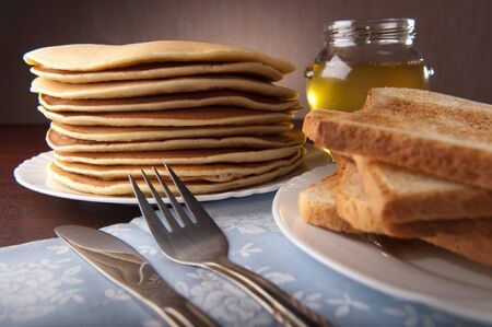 Stack of American pancakes on the table Stock Photo - 12611035