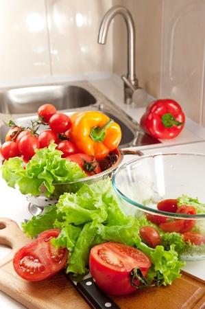 Lots of fresh vegetables for salad preparing Stock Photo