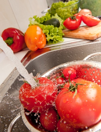 Salad preparation of pepper, tomatoes, vegetable marrow and aubergine photo
