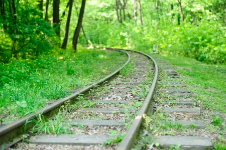 railway track: A view on an abandoned rairoad in forest Stock Photo