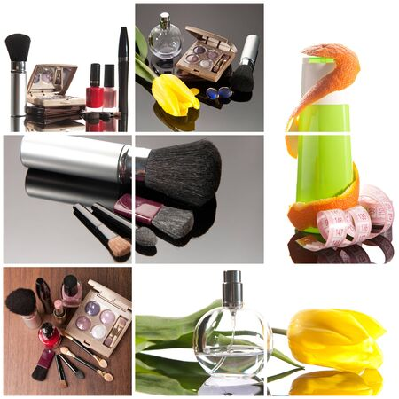 Cosmetics collage: make-up brushes, lipsticks, perfume and creams photo