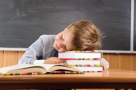 ni�o durmiendo: Dormir ni�o de primaria se sienta en el escritorio con libros