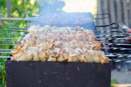 grates: Barbecue closeup. Shashlik on foreground and grid in background Stock Photo