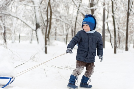 Cute little boy sledding in snow forest photo