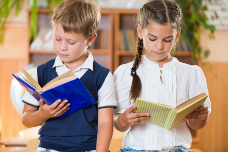 diligent: Portrait of two diligent pupil with books in library