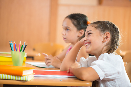 kids class: Two happy smiling girls at school during lesson Stock Photo