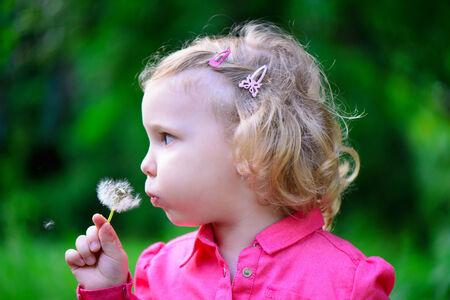 Cute little girl blowing dandelion in park photo