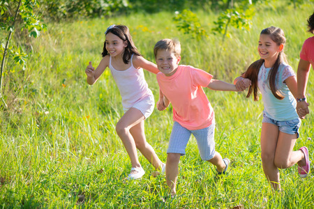 niños jugando en el parque: Grupo de niños felices jugando en la pradera Foto de archivo