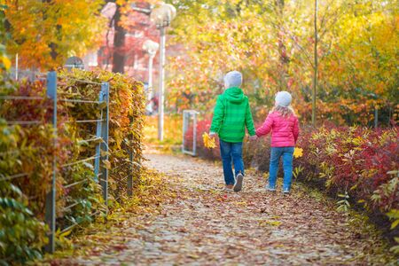 hold hands: Two cute children walking in autumn town