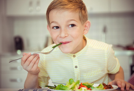 diligent: Young diligent boy  at a table eating healthy meal using cutlery