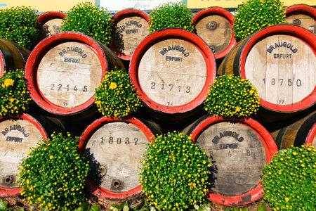 Wooden casks stacked outdoors at Oktoberfest at sunny day: Erfurt, Thuringen, Germany, September 25, 2016
