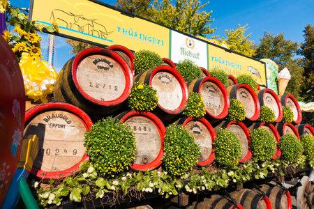casks: Wooden casks stacked outdoors at Oktoberfest at sunny day: Erfurt, Thuringen, Germany, September 25, 2016