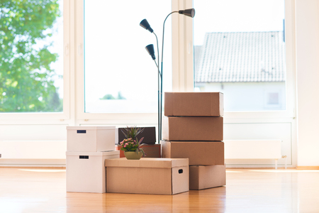 Many cardboard boxes in big bright house during relocation
