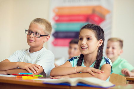 diligent: Portrait of children in shool at the lesson Stock Photo