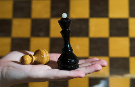 chequer: Queen has neutralized pawn, blurry chessboard on background.